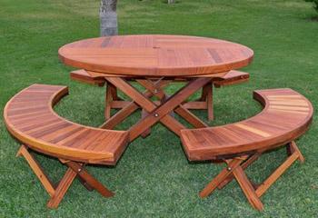 Karynu0027s Redwood Round Folding Picnic Table