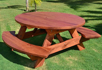 Superb Outdoor Wood Picnic Table Kits Handcrafted From Redwood