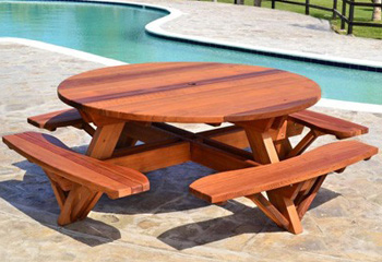 outdoor wood picnic table kits handcrafted from redwood
