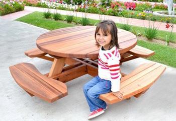 Kidu0027s Round Wood Picnic Table Kit
