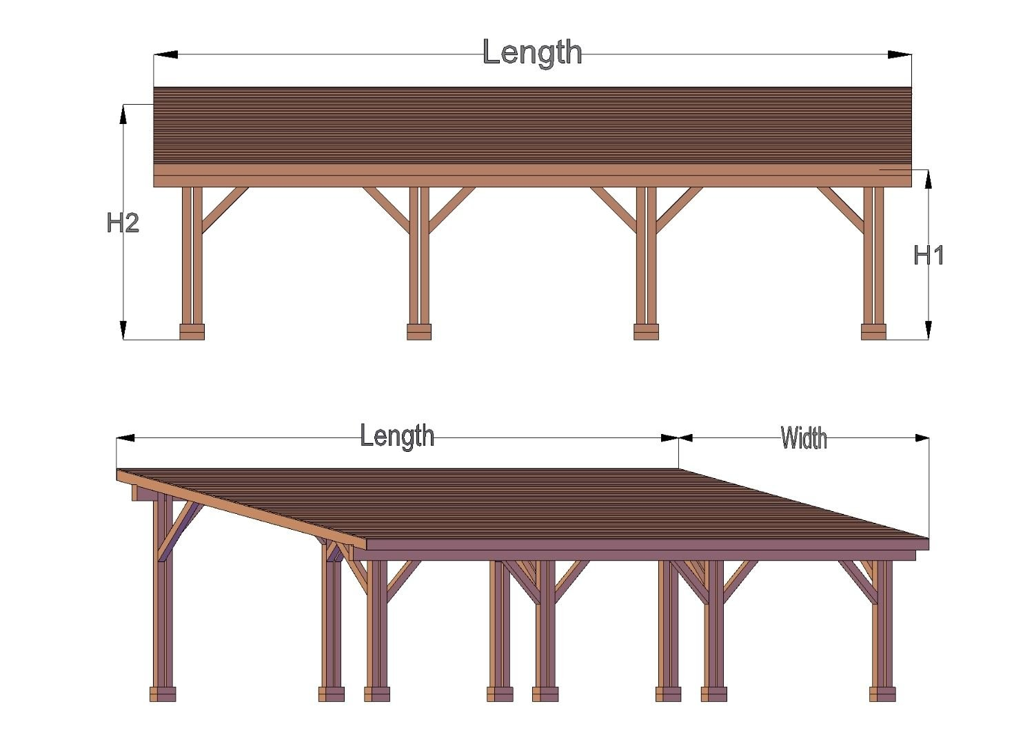 Sample drawings of the Carport Pavilion with three parking bays.