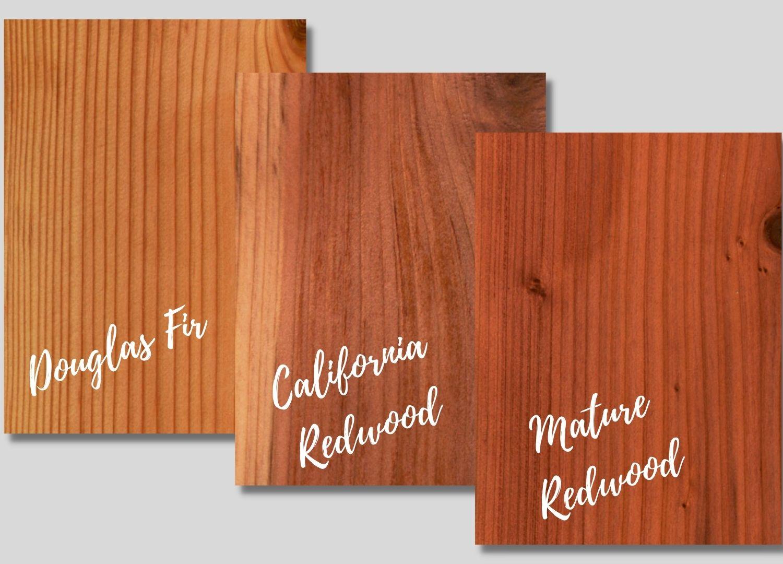 Douglas Fir, California Redwood, Mature Redwood