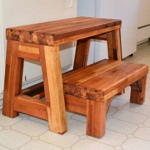 2-Step Stool (Options: Mosaic Eco-Wood, No Engraving, Transparent Premium Sealant).