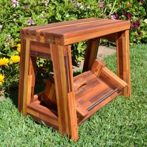 """Folding 2-Step Stool - Opened. (Options: 18""""H top step, 5""""H bottom step, Mosaic Eco-Wood, No Engraving, Transparent Premium Sealant). Ships fully assembled."""