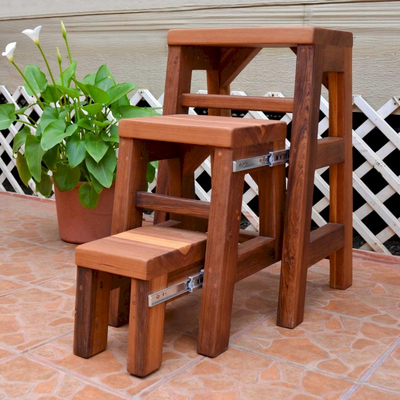 "OPENED: Folding 3-Step Stool (Options: 18""W X 30""H, Redwood, No Engraving, Transparent Premium Sealant)"