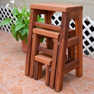 "CLOSED: Folding 3-Step Stool (Options: 18""W X 30""H, Redwood, No Engraving, Transparent Premium Sealant)"