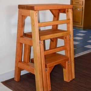 "CLOSED: Folding 3-Step Stool (Options: Custom Size - 24""L X 36""H, Douglas-fir, No Engraving, Transparent Premium Sealant). Custom order with 12"" tall steps instead of standard 10"" tall steps. If you'd like a custom size detail like this, let us know."