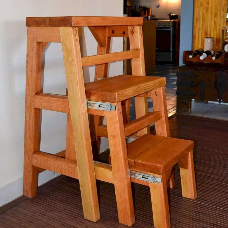 "OPENED: Folding 3-Step Stool (Options: Custom Size - 24""L X 36""H, Douglas-fir, No Engraving, Transparent Premium Sealant). Custom order with 12"" tall steps instead of standard 10"" tall steps. If you'd like a custom size detail like this, let us know."