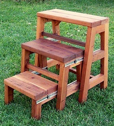 "OPENED: Folding 3-Step Stool (Options: 24""W X 30""H, Mature Redwood, No Engraving, Transparent Premium Sealant)"