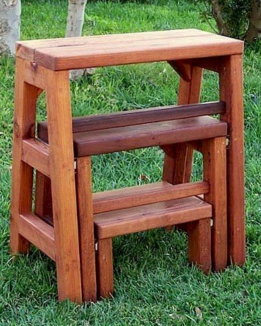 "CLOSED: Folding 3-Step Stool (Options: 24""W X 30""H, Mature Redwood, No Engraving, Transparent Premium Sealant)"