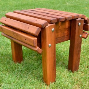 Adirondack Flat Ottoman (Options: Old-Growth Redwood, Transparent Premium Sealant).