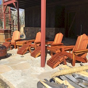 Folding Adirondack Ottomans (Options: California Redwood, Transparent Premium Sealant) with Adirondack Folding Chairs. Photo Courtesy of P. Sigel of Telluride, Colorado.