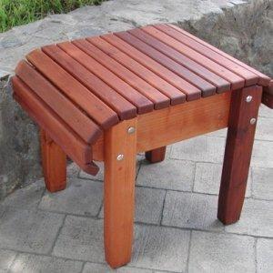 "Adirondack Side Table (Options: 18""L, 14"" W, Old-Growth Redwood, 18"" H, Transparent Premium Sealant)."