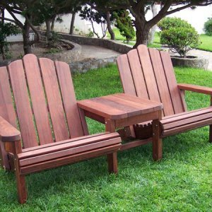 Adirondack Vignette Settee (Options: Extra Wide, Old-Growth Redwood, Rounded Corners, No Umbrella Hole, Standard Seat Depth, No Cushion, No Ottoman, Cherry Stain)