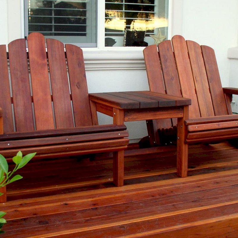 Adirondack Vignette Settee (Options: Extra Wide, Old-Growth Redwood, Rounded Corners, No Umbrella Hole, Standard Seat Depth, No Cushion, No Ottoman, Transparent Premium Sealant)