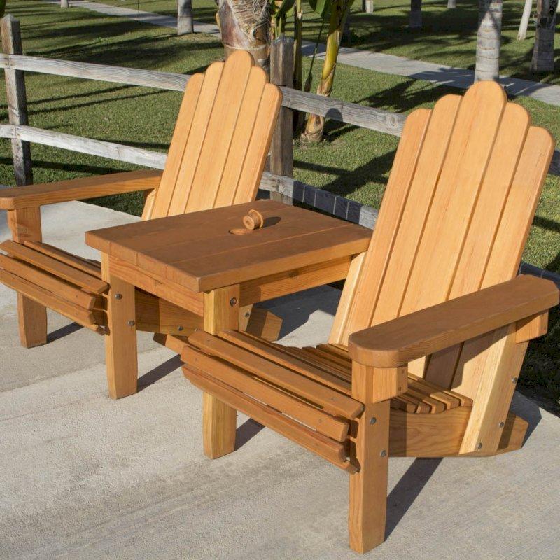 Adirondack Vignette Settee (Options: Standard Width, Douglas-fir, Slightly Rounded Corners, Umbrella Hole, Standard Seat Depth, No Cushion, No Ottoman, Transparent Premium Sealant).