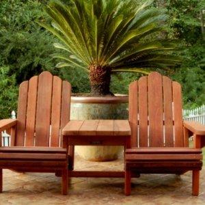 Adirondack Vignette Settee (Options: Standard Width, Old-Growth Redwood, Rounded Corners, No Umbrella Hole,  Standard Seat Depth, No Cushion, No Ottoman, Transparent Premium Sealant)