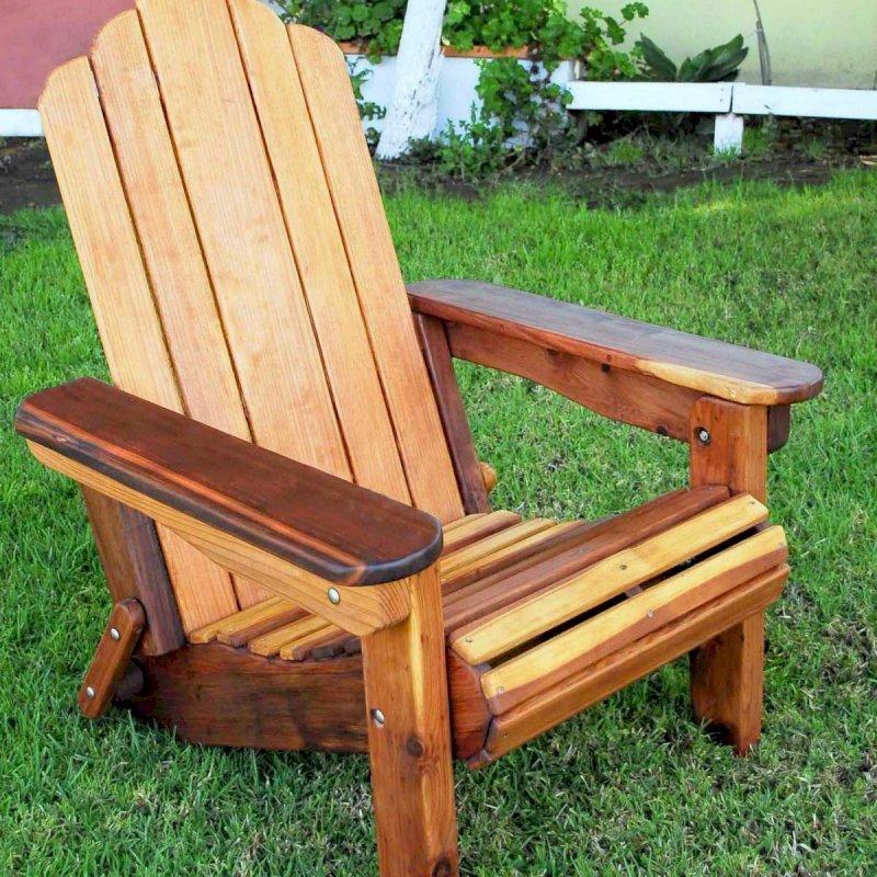 Adirondack Folding Chair (Options: California Redwood, No Cushions, No Ottoman, Transparent Premium Sealant).