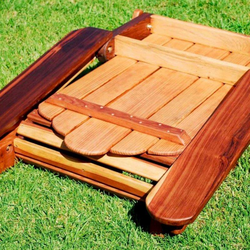 FOLDS UP COMPACTLY: Adirondack Folding Chair (Options: California Redwood, No Cushions, No Ottoman, Transparent Premium Sealant).