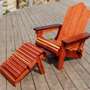 Adirondack Folding Chair (Options: Redwood, No Cushions, Add Standard Ottoman, Transparent Premium Sealant).