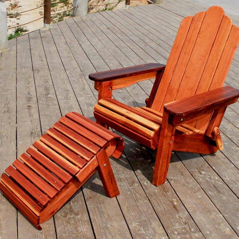 Adirondack Folding Chair (Options: California Redwood, No Cushions, Add Standard Ottoman, Transparent Premium Sealant).