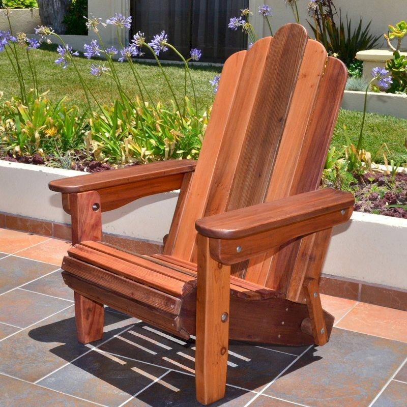Adirondack Folding Chair (Options: Old-Growth Redwood, No Cushions, No Ottoman, Transparent Premium Sealant).