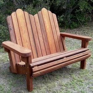 Adirondack Loveseat (Options: Old-Growth Redwood,  Standard Seat Depth, No Cushion, No Ottoman, Transparent Premium Sealant).