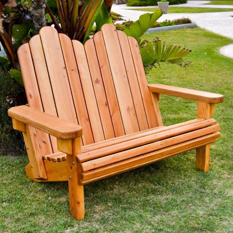 Adirondack Loveseat (Options: Douglas-fir, Standard Seat Depth, No Cushion, No Ottoman, Transparent Premium Sealant).