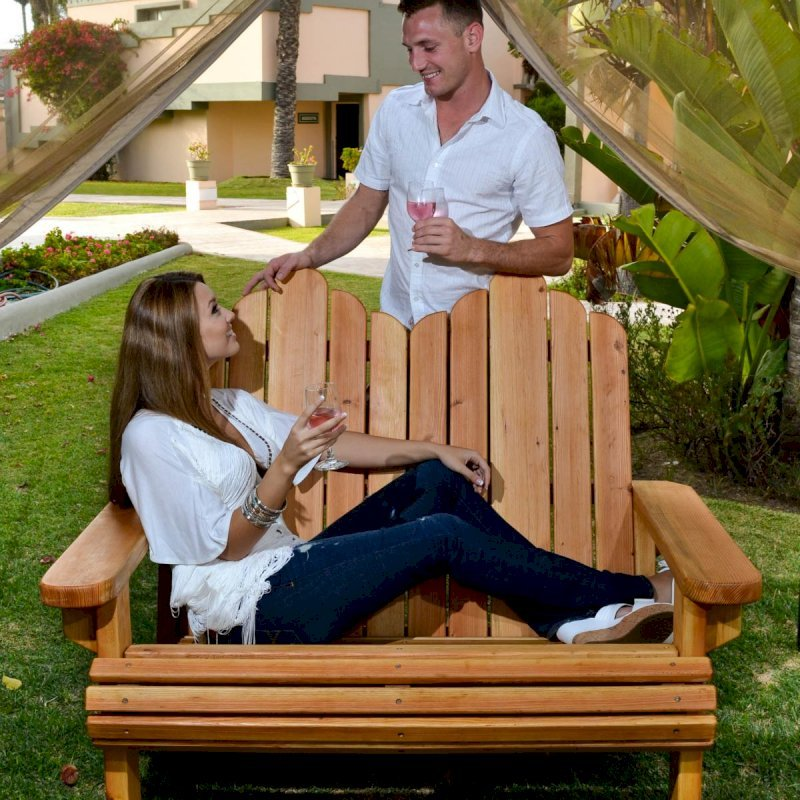 Adirondack Loveseat (Options: Douglas-fir, Standard Seat Depth, No Cushion, No Ottoman, Transparent Premium Sealant). Photo Courtesy of The Estero Beach Resort, Ensenada, Mexico.
