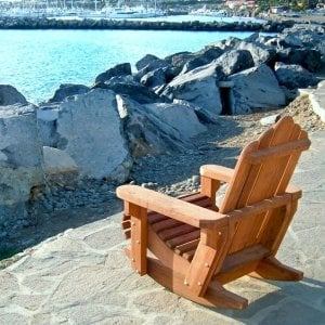 Adirondack Rocking Chair  (Options: Standard Size, Redwood, No Cushion, No Ottoman, Transparent Premium Sealant).