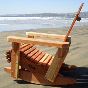 Adirondack Rocking Chair  (Options: Standard Size, Redwood, No Cushion, No Ottoman, Unfinished).