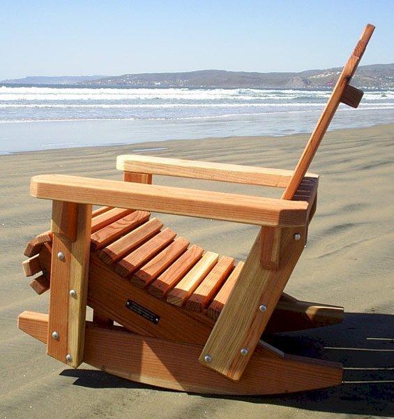 Adirondack Rocking Chair  (Options: Standard Size, California Redwood, No Cushion, No Ottoman, Unfinished).