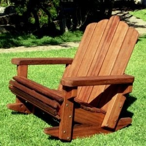 Adirondack Rocking Chair  (Options: Extra Wide Size, Old-Growth Redwood, No Cushion, No Ottoman, Transparent Premium Sealant).