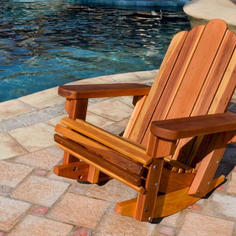 Adirondack Rocking Chair (Options: Standard Width, Redwood, No Cushion, No Ottoman, Transparent Premium Sealant).