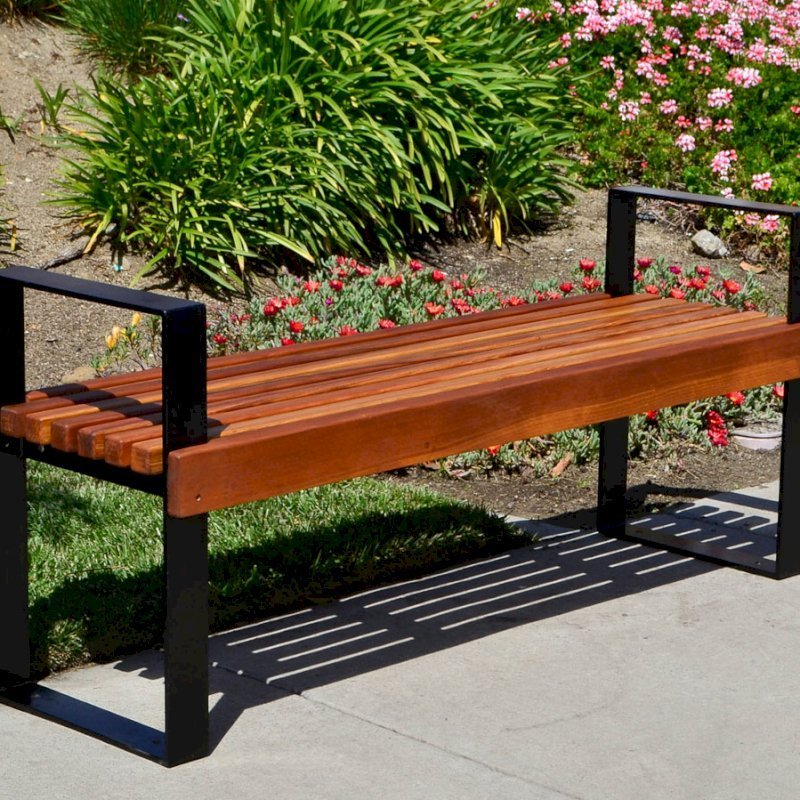 The Alameda Bench (Options: 4 ft, California Redwood, No Cushion, No Engraving, Transparent Premium Sealant).