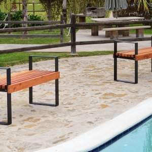 2 Alameda Benches (Options: 4 ft, California Redwood, No Cushion, No Engraving, Tranparent Premium Sealant).