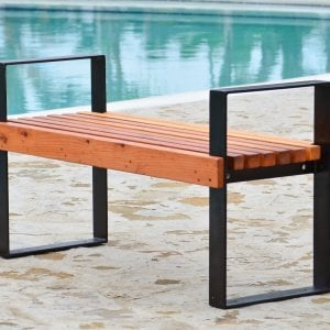 The Alameda Bench (Options: 4 ft, California Redwood, No Cushion, No Engraving, Tranparent Premium Sealant).