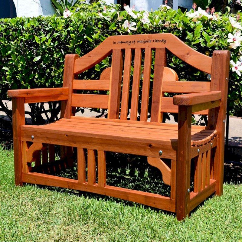Alan's Bench (Options: 4 ft, California Redwood, No Cushion, Custom Engraving, Transparent Premium Sealant).