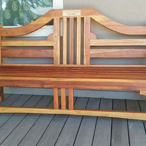 Alan's Bench (Options: 6 ft, California Redwood, No Cushion, No Engraving, Plaque Provided by Customer, Transparent Premium Sealant). Photo Courtesy of E. Agnoli of Laytonville, CA.