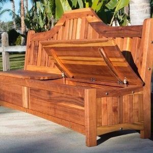 Custom Alan's Storage Bench Without Armrests (Options: 5 ft, California Redwood, with Pistons, Transparent Premium Sealant).