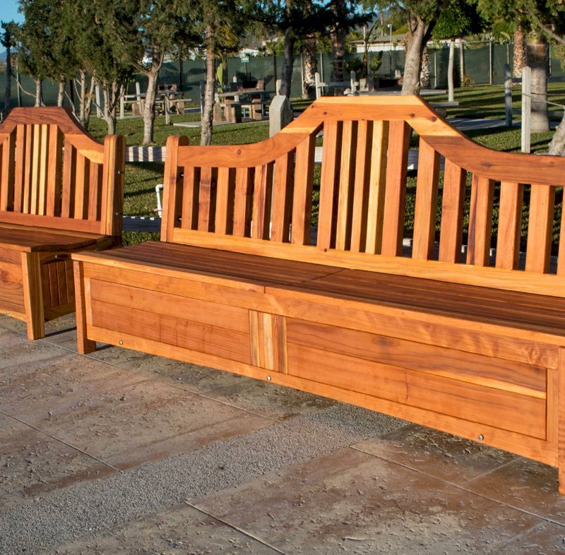 Custom Alan's Storage Benches Without Armrests (Options: 5 ft & 8 ft, California Redwood, with Pistons, Transparent Premium Sealant).