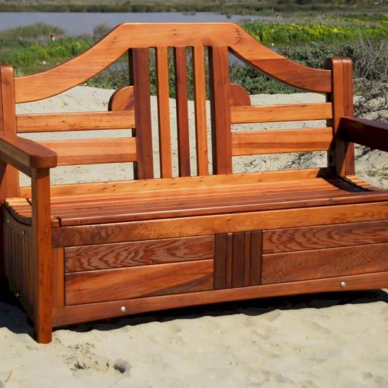 Alan's Storage Bench (Options: 4 ft, Old-Growth Redwood, No Piston, No Cushions, No Engraving, Transparent Premium Sealant).