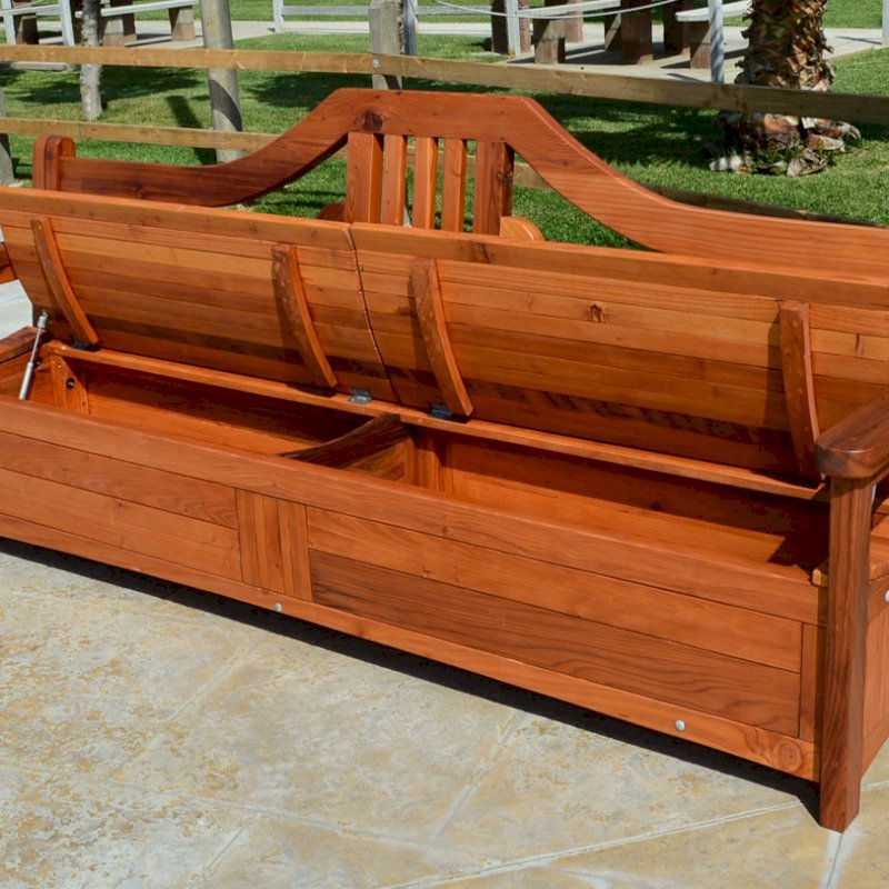 Alan's Storage Bench (Options: 8 ft, Mature Redwood, With Pistons, No Cushions, No Engraving, Transparent Premium Sealant). Seat in 2 sections by custom request.
