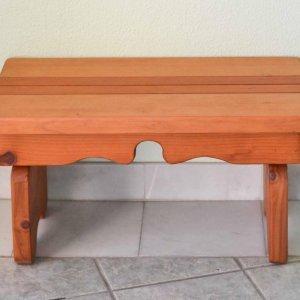 "Angel's Side Table (Options: 36"" L, 14"" W, Redwood, 14"" H, Transparent Premium Sealant)."