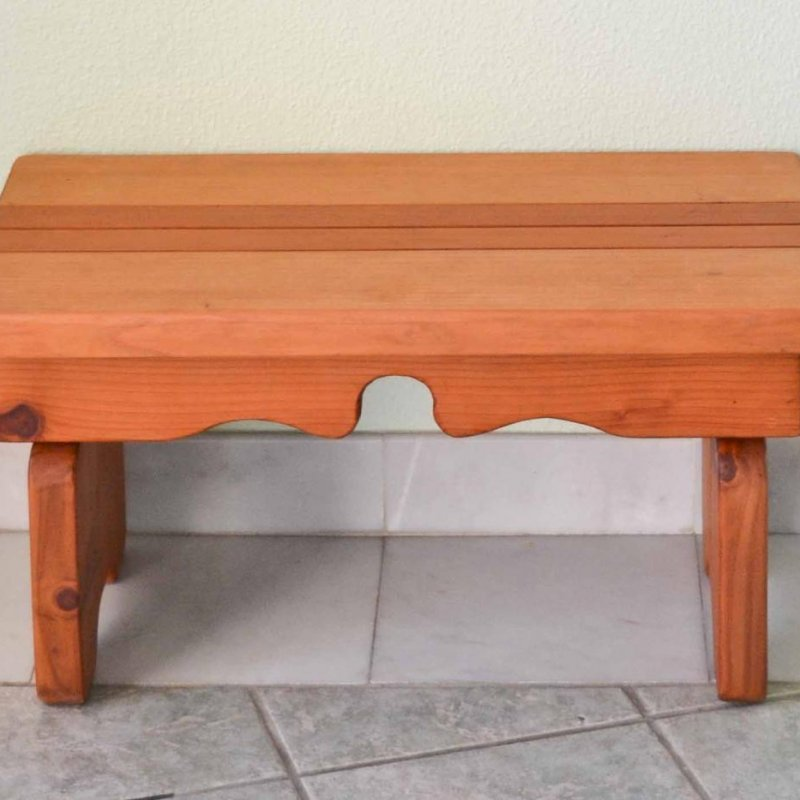 "Angel's Side Table (Options: 36"" L, 14"" W, Mature Redwood, 14"" H, Transparent Premium Sealant)."