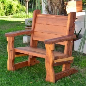 Angel's Bench (Options: 3 ft, California Redwood, No Cushion, No Engraving, Transparent Premium Sealant).