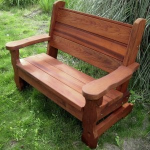 Angel's Bench (Options: 4 ft, Old-Growth Redwood, No Cushion, No Engraving, Transparent Premium Sealant).