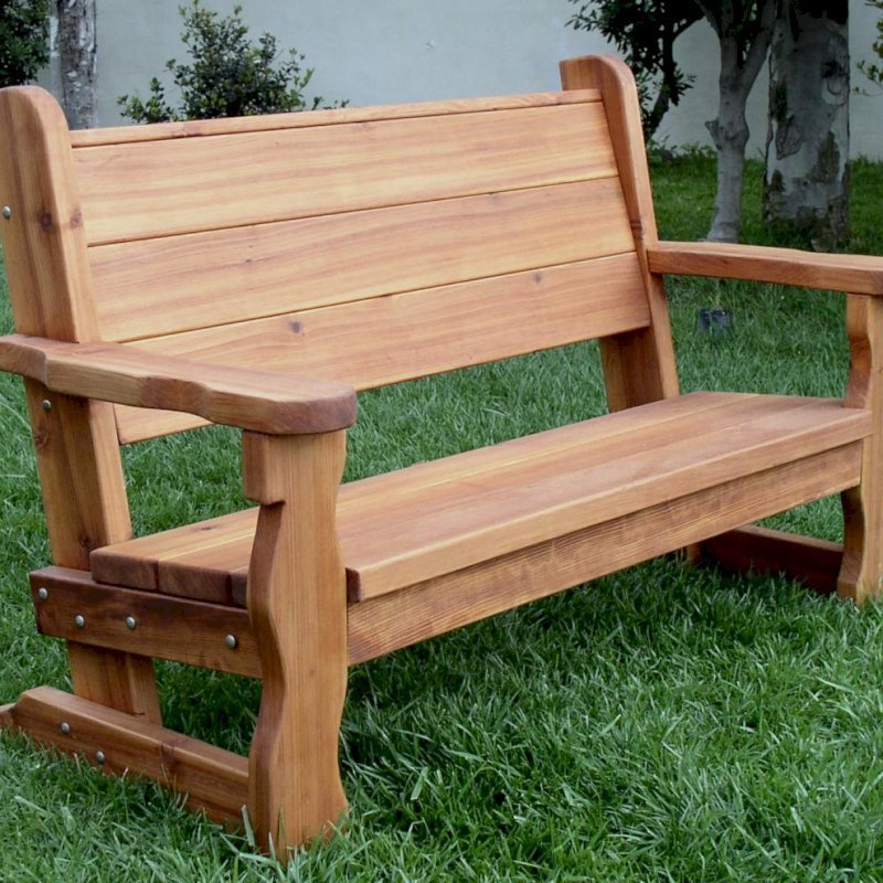 Angel's Bench (Options: 5 ft, California Redwood, No Cushion, No Engraving, Transparent Premium Sealant).