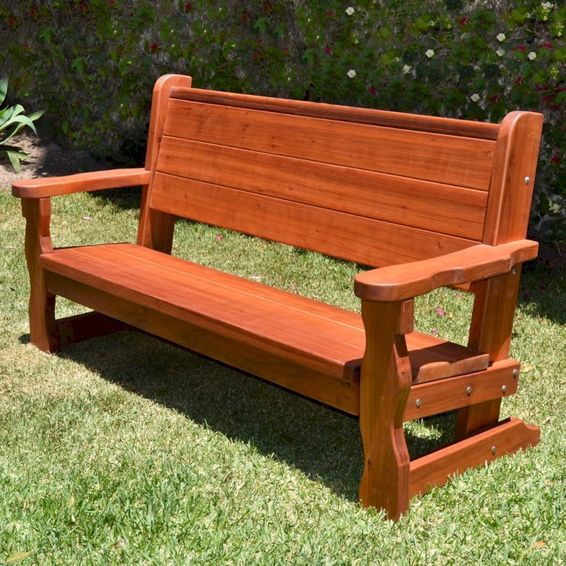 Angel's Bench (Options: 6 ft, Old-Growth Redwood, No Cushion, No Engraving, Transparent Premium Sealant).