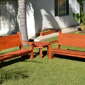 Angel's Benches (Options: 6 ft, Mature Redwood, No Cushion, No Engraving, Transparent Premium Sealant) and Round Side Table. Carmel Planter in background.